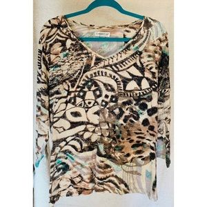 Coldwater Creek Patterned Sequin 3/4 Sleeve Top